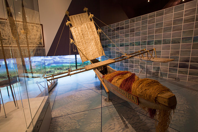 The Kulbasaibai canoe which is the central feature of the pre-european contact module of the exhibition.