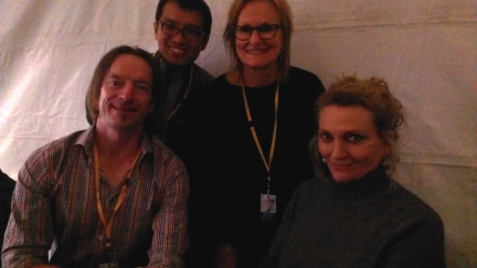 Myself, Augustius Wibowo, Christine Manfield and Robyn Davidson from the Travellers Tales panel.