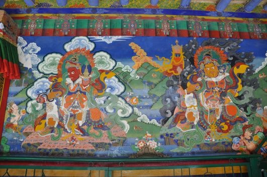 Guardian deities painted on the entrance way to the Lamayuru gompa main prayer room